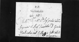 CG15 - Lettera Da Varallo Per Novara 25/4/1842  -  Ann. Stampatello Lineare Nero Con Data + P.P. - ...-1850 Préphilatélie