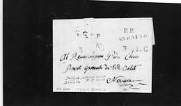 CG15 - Lettera Da Varallo Per Novara 3/7/1844 -  Ann. Stampatello Lineare Nero Con Data + Doppio P.P. Rosso - ...-1850 Préphilatélie