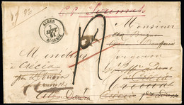 """FRANCE Lettre Avec CAD Type 15 """"Alger Algérie"""" + Taxe Manuscrite 12 Pour Crescia (Douera) Avec Nombreuses Réepéditions - 1849-1876: Periodo Classico"""