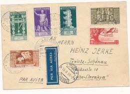 1938 AEROGRAMMA X LA CECOSLOVACCHIA CON PA AUGUSTO 0,50 +0,80 + PA ORAZIO 0,60 CENT - Marcofilía