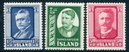 ICELAND 1954 Hafstein Anniversary Set MNH/**.  Michel 293-95 - Nuevos