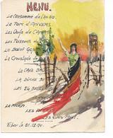 Menu Patriotique Peint à La Main Aux Couleurs Belges Nouvel An 30-12-1940 Camp Prisonniers Oflag III B Tibor Züllichau - 1939-45