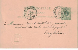 Ernest Mathieu Enghien De Charles Venden Heetvelded'Auderghem. Timbre Sec Avec Blason à Identifier - Postales [1871-09]