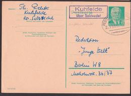 Kuhfelde über Salzwedel PSSt.  Bahnpost Oebisfelde - Salzwedel  Z. 1558 Auf 10 Pf. Ganzsache Wilhelm Pieck - Machine Stamps (ATM)