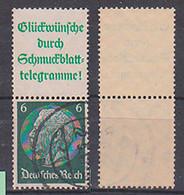 Germany S 209 Gestempelt Zdr. Hindenburg Glückwünsche Durch Schmuckblatt-Telegramme - Se-Tenant