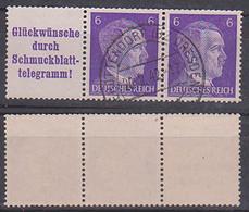 Germany W 155 Gestempelt Zdr. Hitler Glückwünsche Durch Schmuckblatt-Telegramm! - Se-Tenant