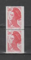 FRANCE / 1982 / Y&T N° 2223 ** : Liberté 1F80 Rouge (de Roulette Sans N° Rouge) X 2 Se Tenant - Ungebraucht