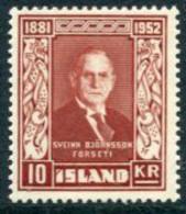 ICELAND 1952  Death Of  Björnsson 10 Kr.  MNH / **.  Michel 284 - Nuevos