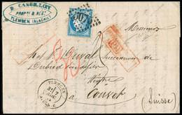 """FRANCE Lettre N°60 OBL GC5075 + CAD T17 """"Tlemcen Algérie"""" Pour La Suisse Avec Griffe Encadrée Rouge + Taxe 30 Au Crayon - 1849-1876: Classic Period"""