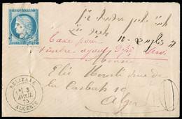 """FRANCE Lettre N°60, Déjà Oblitéré, Avec CAD T17 """"Relizane Algérie""""+ Taxe 40 Double-trait Et Mention Manuscrite à L'encre - 1849-1876: Periodo Classico"""
