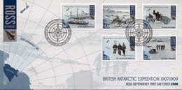 FDC TERRE De ROSS Année 2008 N° 115 à 119 Expédition Britannique En Antarctique 1907 1909. - FDC