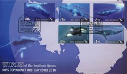 FDC TERRE De ROSS Année 2010 N° 125 à 129 Cétacés Baleines - FDC