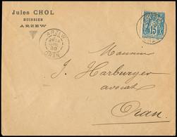 "FRANCE Lettre N°90 Perforé ""JC"" OBL ""Arzew Oran"" (1899) Sur Lettre à En-tête ""Jules Chol Huissier Arzew"". TB - 1877-1920: Periodo Semi Moderno"