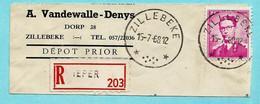 Relais/sterstempel ZILLEBEKE 15/07/1968 Op Fragment Aanget. Zending Met N° 1067, R-vignet : IEPER - Postmarks With Stars