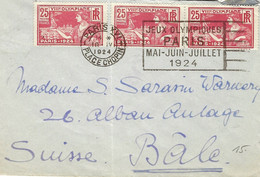 1924- Enveloppe Affr. 25 C X 3 Des J.O. Avec Flamme De Paris-XVI / PLACE CHOPIN  Pour La Suisse - Zomer 1924: Parijs
