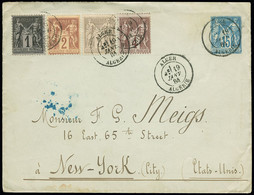 """FRANCE Lettre N°83 + 85 + 87 + 88 OBL CAD Type 18 """"Alger Algérie"""" Sur Env. Entier Postal 15c Sage Pour New-York. TB - 1877-1920: Periodo Semi Moderno"""