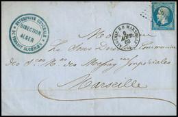 """FRANCE Lettre N°14 OBL PC 1896 + CAD """"Algérie BB Marseille"""" D'Alger Pour Marseille Avec Cachet  Bleu Ind 14. TB - 1849-1876: Periodo Classico"""