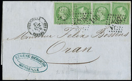 """FRANCE N°20, OBL GC 5051 + CAD """"Marseille Bateau A Vap"""" (25 Oct 70) (Salles N°496A) Sur Lettre De Marseille à Oran. TB - 1849-1876: Classic Period"""
