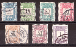 Maroc - 1899 - Poste Locale Mazagan à Marrakech - Timbres-Taxe N° 69 à 75 Oblitérés - Poste Locali