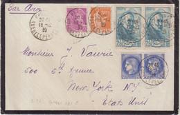 FRANCE :PA . AFFRANCHISSEMENT A 10 F . POUR LES USA . 1939 . - 1927-1959 Brieven & Documenten