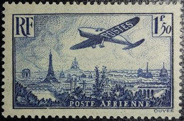 FRANCE Y&T N°9 Poste Aérienne. Variété (voir Filet Du Cadre Sud Brisé). 1,50Fr. Bleu. Neuf* MH TB... - 1927-1959 Nuevos