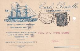 ITALIE 1920  CARTE PUBLICITAIRE DE SPEZIA - Marcofilía