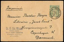 """FRANCE Petite Enveloppe Entier Postal 5c Sage OBL CAD """"Marseille Ligne D'Alger"""" (1897) Pour Le Danemark. Rare Et TB - 1877-1920: Periodo Semi Moderno"""