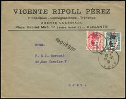 """Espagne N°489 + 491 OBL CAD 1 Cercle """"Oran Oran"""" (19.11.31) + Griffe """"Paquebot"""" Sur Lettre D'Alicante Pour Oran. - 1877-1920: Periodo Semi Moderno"""