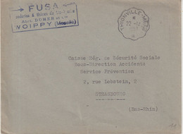 "FRANCE : EN FRANCHISE . OBL . AMBULANT . "" THIONVILLE - METZ "" . 1953 . - Briefe U. Dokumente"