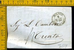 Prefilatelica Con Testo Milano Trento - 1. ...-1850 Prephilately