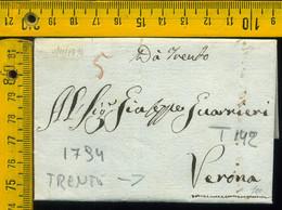 Prefilatelica Con Testo Trento Verona - 1. ...-1850 Prephilately