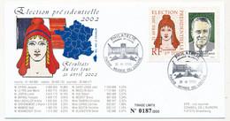 Env. Election Présidentielles 2002 - Affr. 0,46 Chaban Delmas + Vignette - Obl Paris Musée Louvre 21/4/2002 - Marianne - Storia Postale