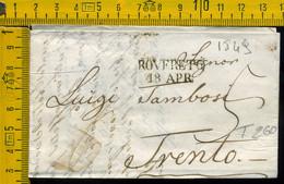 Prefilatelica Con Testo Rovereto Trento - 1. ...-1850 Prephilately