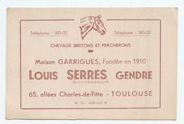 CARTE DE VISITE LOUIS SERRE CHEVAUX BRETONS ET PERCHERONS - Visitekaartjes
