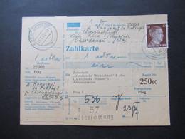 3.Reich Ostmark 23.3.1945 Zahlkarte Für Die Ukrainische Wirklichkeit Nach Prag Tagesstempel Und Ra2 Eberschwang - Covers & Documents