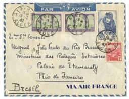 """FRANCE N°461,lettre Mixte Avec Algérie N°85 En Paire + N°165 OBL CAD """"Alger RP Alger"""" Par Avion Pour Rio De Janeiro Rare - Lettres & Documents"""