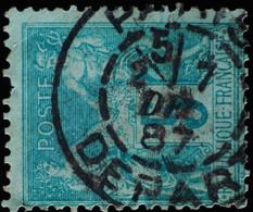 -Sage N°75 Type II  Ob  ( CAD  ) PARIS DEPART 1887. - 1876-1898 Sage (Type II)