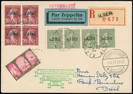 Algérie Carte N°10,13 Alger RP, Recommandée Par Zeppelin Griffe Verte Du 2ème Südamerikafahrt Pour Recife - Pernambouc R - Storia Postale