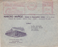 ARGENTINE. AÑO DEL LIBERTADOR GRAL SAN MARTIN. MEDIAS CARLITOS, SOCKS. MACHINE A AFFRANCHIR. 1950. CIRCULEE. -LILHU - Textil