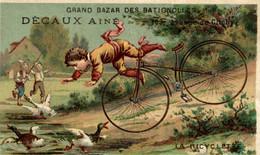 CHROMO DECAUX AINE GRAND BAZAR DES BATIGNOLLE LA BICYCLETTE - Andere