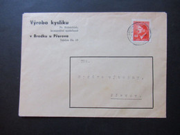 Böhmen Und Mähren 1942 Hitler Nr. 94 EF Umschlag Vyroba Kysliku Fr. Nejezchleb Komanditni Spolecnost V Brodku U Prerova - Briefe U. Dokumente
