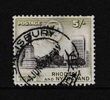 RHODESIA  AND  NYASALAND    1959    5/-  Brown  And  Green     Short  Perf  Hence  Price  USED - Rhodesien & Nyasaland (1954-1963)