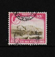 RHODESIA  AND  NYASALAND    1959    10/-  Brown  And  Red     USED - Rhodesien & Nyasaland (1954-1963)