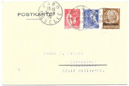 Moselle  Postkarte Obl. DABO MOSELLE Sur Affranchissement Composé F - All. Du 24.8.1940 - Elzas-Lotharingen