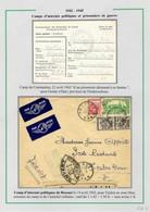 """Algérie N°164 + 165 +105 OBL CAD """"Bossuet Oran"""" Lettre D'interné Politique + Carte De Prisonnier Allemand à Constantine - Storia Postale"""