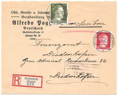 Moselle (Audun Le Tiche) - L Recommandée Obl. DEUTSCHOTT (WESTMARK) C Du 11.3.1941 Pour Didenhoffen - Elzas-Lotharingen