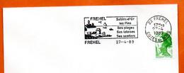 22 FREHEL  SES FALAISES 1989 Lettre Entière N° FG 671 - Maschinenstempel (Werbestempel)