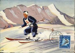 62074 Switzerland, Maximum Vevey 25.2.1948 Winter Olympiade St.moritz 30+10rp. Mi-495 - Inverno1948: St-Moritz