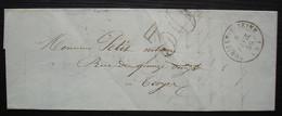 Romilly Sur Seine 1856 Lettre Taxée 30 Pour Troyes - Lettere Tassate