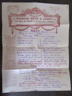 Grand Menu Du Restaurant Bogey & Combet Avec Carte Des Vins Au Verso - Menus